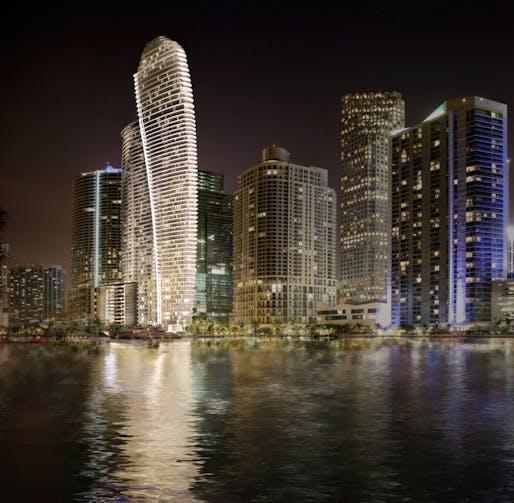 Rendering of the Aston Martin Residences in downtown Miami. Image via Aston Martin PR/Twitter.