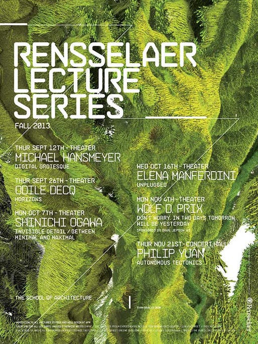 Poster for Fall '13 lectures at the Rensselaer Polytechnic Institute School of Architecture. Image from arch.rpi.edu.