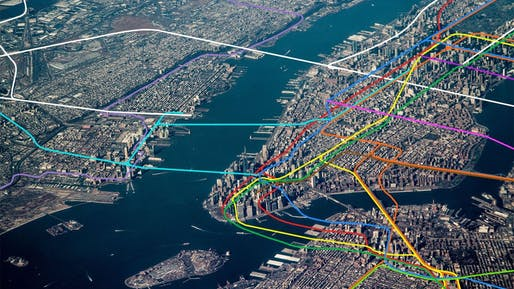 Aerial view of NYC overlayed with it's transit system. Photo: Dennis Dimick/Flickr.