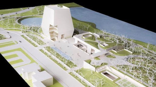 Model of the Obama Presidential Center in Jackson Park on Chicago's South Side. Picture from the Obama Foundation.