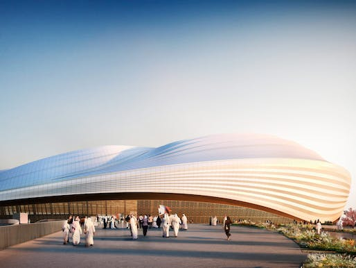 "Rendering of El Wakrah Stadium for the World Cup in Qatar. Image by <a href=""http://archinect.com/zaha-hadid"">Zaha Hadid Architects</a>"