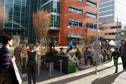 Rendering of the Fourth Avenue Parklet in downtown Portland. Image via pdx.edu.