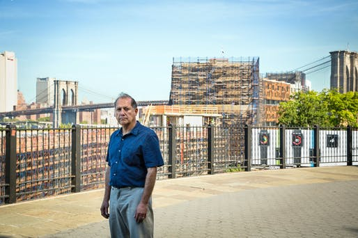 On the Brooklyn Heights Promenade, Steven Guterman, founder of Save the View Now, stood before the Pierhouse development, which the group opposes. Credit Pablo Enriquez for The New York Times