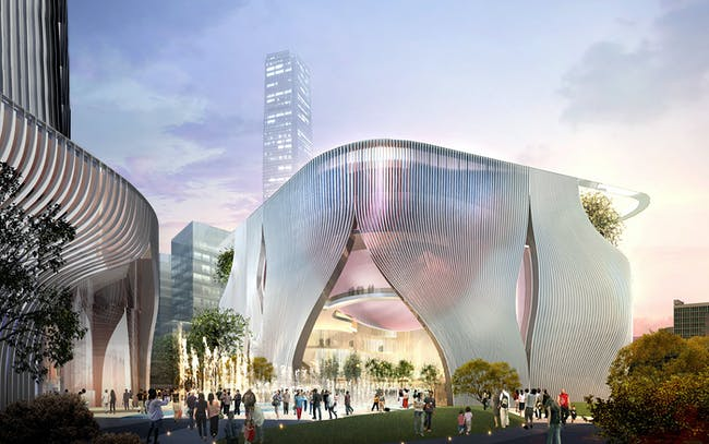 Street level view of Xiqu Centre in relations to piazza (Image: West Kowloon Cultural District Authority)
