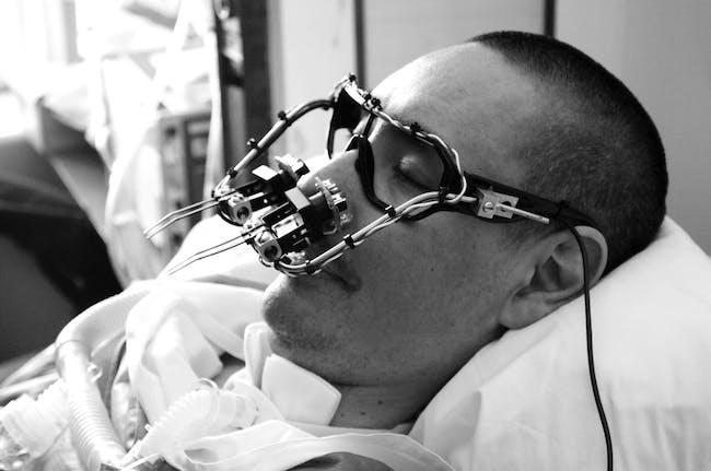 Interaction Design: Evan Roth: Eyewriter, designed for paralyzed graffiti artist Tempt1, Los Angeles, CA, 2009. Project partners: Zach Lieberman, James Powderly, Chris Sugrue, Tempt1, Theo Watson (Photo: Eyewriter Team)