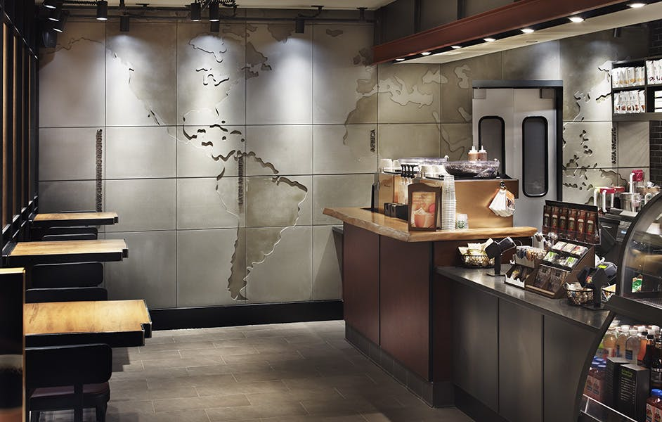 World map wall feature starbucks toronto anthony concrete 2 more images gumiabroncs Gallery
