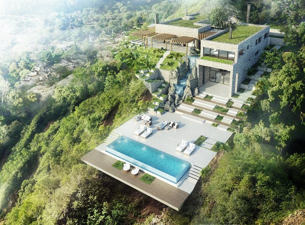 Villa Olympea aerial view