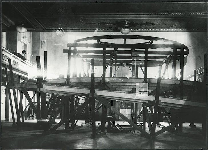 Frederick Kiesler, 'Space Stage', Middle Hall of the Vienna Konzerthaus being set up or dismantled, Vienna 1924