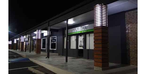 Shallowford Plaza at night