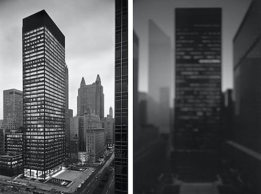 Left: Ezra Stoller's 'Seagram Building' New York, NY, 1958. Image: Yossi Milo Gallery, New York. Right: Hiroshi Sugimoto's Rockefeller Center, 2001. Image: Hiroshi Sugimoto.