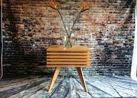 Red Oak Slat End Table