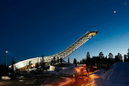 Image via the Holmenkollen ski jump's Airbnb page.