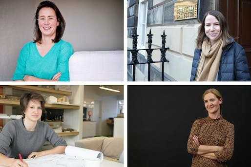 2020 MJ Prize shortlist (Clockwise from upper left): Tracy Meller of Rogers Stirk Harbour + Partners; Emma Fairhurst of Collective Architecture; Nicola Rutt of Hawkins\Brown; Alice Hamlin of Mole Architects. Image via Architects' Journal.