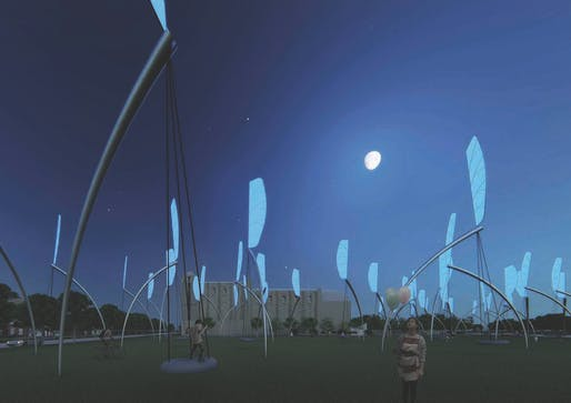 """Swings"". TEAM: Lu Chao, Weng Shenxia. ENERGY TECHNOLOGIES: thin-film photovoltaic, kinetic wind harvesting (with human assist). ANNUAL CAPACITY: 1,200 MWh. A submission to the 2018 Land Art Generator design competition for Melbourne."