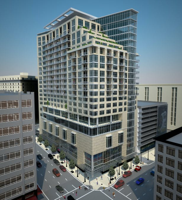 exterior rendering of the tower hotel