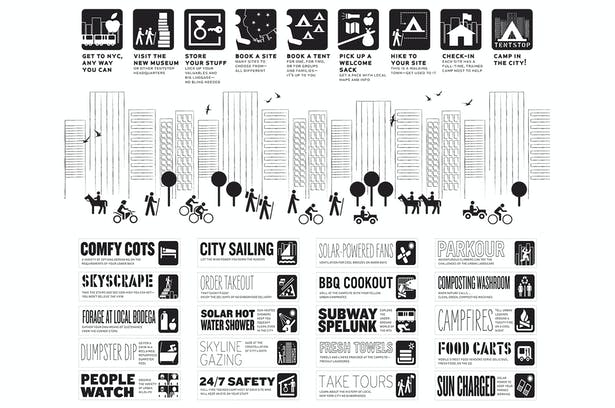 The options for urban camping are limitless! Graphic Design by our friends at Omnivore.