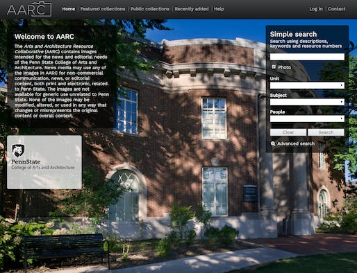 Landing page of Penn State's new Arts and Architecture Resource Collaborative (AARC)