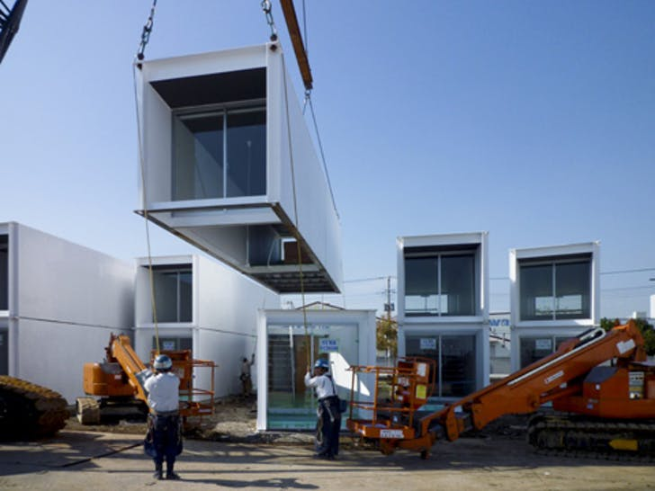 Units of the 'Ex-Container' deployed after the 2011 earthquake and tsunami. Credit: Yasutaka Yoshimura Architects