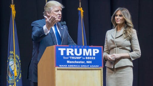 Melania Trump stands beside her husband at a campaign event in Manchester, New Hampshire. Photo by Mark Nozell via flickr.