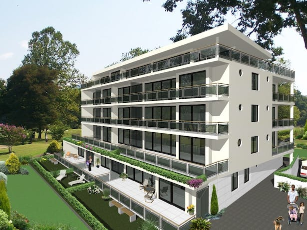 Conception for residential building in Switzerland - South East elevation