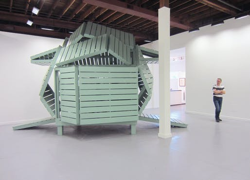 Michael Jantzen's M-velope sculpture at Bruno David Gallery, St. Louis, Missouri. Image courtesy of the artist.