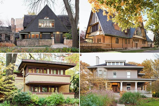 Top row, the Frank Lloyd Wright Home and Studio (far left) and the Nathan G. Moore House. Bottom row, the Laura Gale House (far left) and the Dr. William H. Copeland House. Credit Kevin Miyazaki for The New York Times