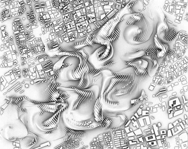 'fluid integration of 4 urban morphologies' (aka a big bummer for your commute) Credit: Ludovico Lombardi, Du Yu, Victoria Goldstein, Xingzhu Hu under the tutelage Patrik Schumacher