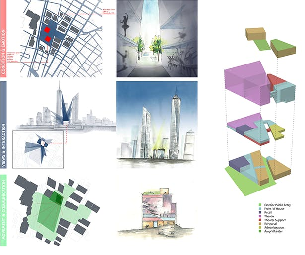 Concept board and program massing