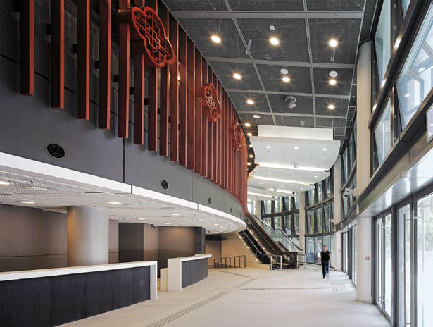 Lofty main foyer infiltrated with nature's daylight, sound, breeze and scenery