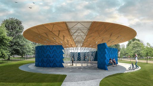 Serpentine Pavilion 2017 designed by Keré Architecture, Design render © Keré Architecture