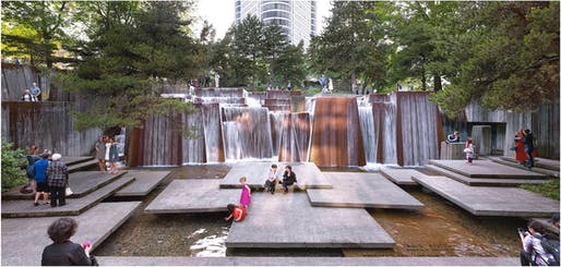 Portland Open Space Sequence, Ira Keller Forecourt Fountain, Portland, OR, 2016. Designed by Lawrence Halprin with Angela Danadjieva, 1970. Photo © Jeremy Bittermann, courtesy The Cultural Landscape Foundation.