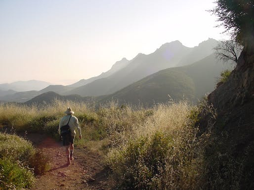 A hiker on the Backbone Trail of the Santa Monica Mountains in Los Angeles.