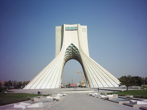Having designed Tehran's most famous landmark didn't make life any easier for the architect Hossein Amanat, a follower of the persecuted Bahá'í faith. Image via Wikipedia.
