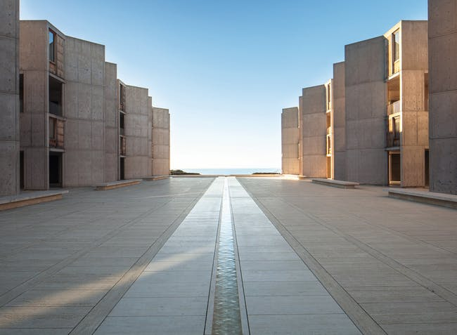 """Salk Institute, from """"Mid-Century Modern Architecture Travel Guide: West Coast USA"""" by Sam Lubell. Photo: Darren Bradley, courtesy of Phaidon."""