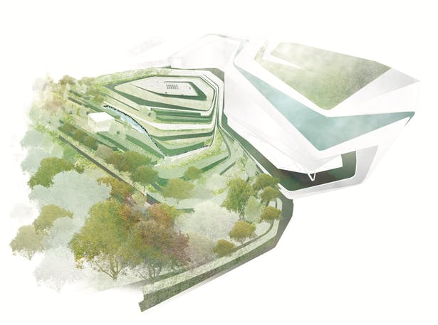 Aerial Visualization 2. 3D Rhino Model by Zaha Hadid Architects. Photoshop textures/atmosphere by me