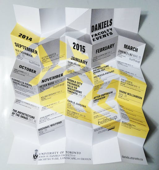 2014-15 Lecture Series at the University of Toronto - Daniels Faculty of Architecture, Landscape, and Design. Design by catalogtree, courtesy of Daniels Faculty.