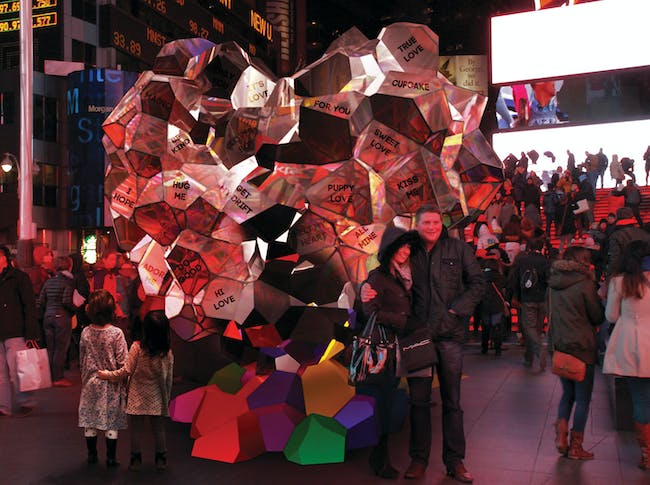 SOFTlab - Sweet Heart. Finalist entry for 2014 Times Square Heart Design. Image courtesy of 2014 Times Square Heart Design competition