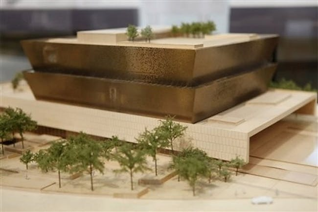Model of the winning design concept for the National Museum of African American History and Culture submitted by Freelon Adjaye Bond : SmithGroup (Photo- AP)