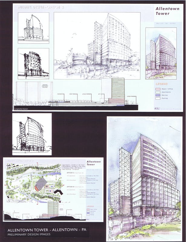 Perspective Sketch, Site Plan and Section, Option 2
