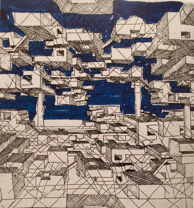 Yona Friedman: Drawings of La Ville Spatiale, 1958; Courtesy Yona Friedman Archives, Paris