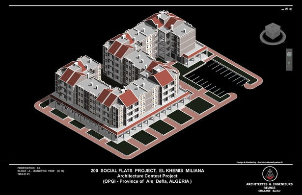 Block A - South East Isometric View - 200 Social Flats Project El Khemis Miliana ( Algeria)