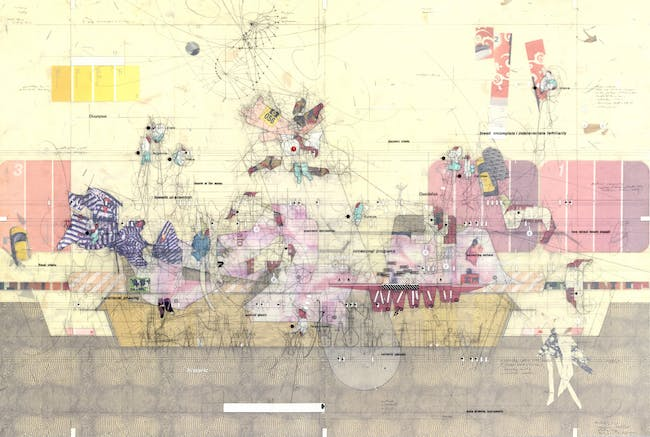 """Central California History Museum Longitudinal Section Drawing made: 2010 Drawing size: 24"""" x 36"""" Materials: mylar, graphite, found imagery, transfer letters + transfer film, cut paper © Perry Kulper"""