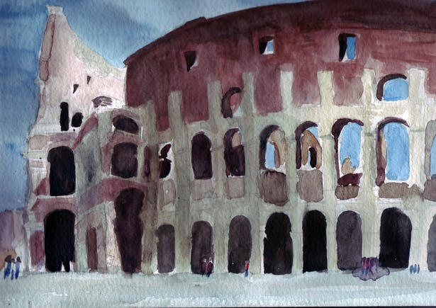 A view of the Colosseum in Rome, Italy.