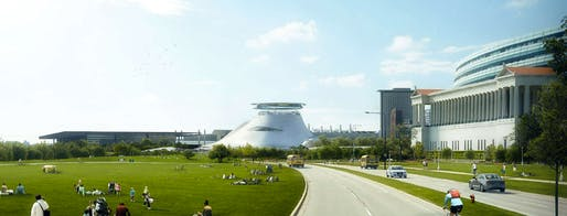 One of the many iterations of the Lucas Museum of Narrative Art. Image: LMNA