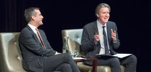 Christopher Hawthorne and Los Angeles Mayor Eric Garcetti discussed ways to make the city a more pleasant place to live and work in Oxy's Keck Theater on February 13, 2014.
