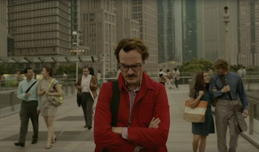Joaquin Phoenix walks through a future Los Angeles, gloomy in spite of the lack of cars and efficient public transport. Image from 'Her'