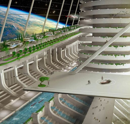 A rendering of a habitable platform, which Asgardia envisions sending its citizens to in the future. Credit: James Vaughan
