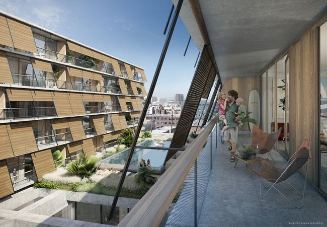 Rendering of lower-rise residential units at 6AM. Image: Herzog & de Meuron.