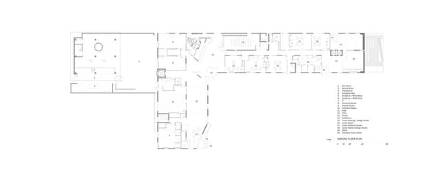 Glassell School of Art, Leve 1 floor plan. Image © Steven Holl Architects.