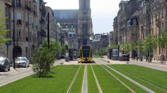 The tramway in Reims, with the cathedral in the background. Photo: Richez Associes Read more: http://www.smh.com.au/nsw/sydneys-light-rail-renowned-french-architect-thomas-richez-to-advise-on-design-20150727-gildif.html#ixzz3hDoLg1PL